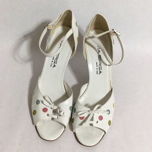 Via Spiga Polka Dot Peep Toe Stilettos
